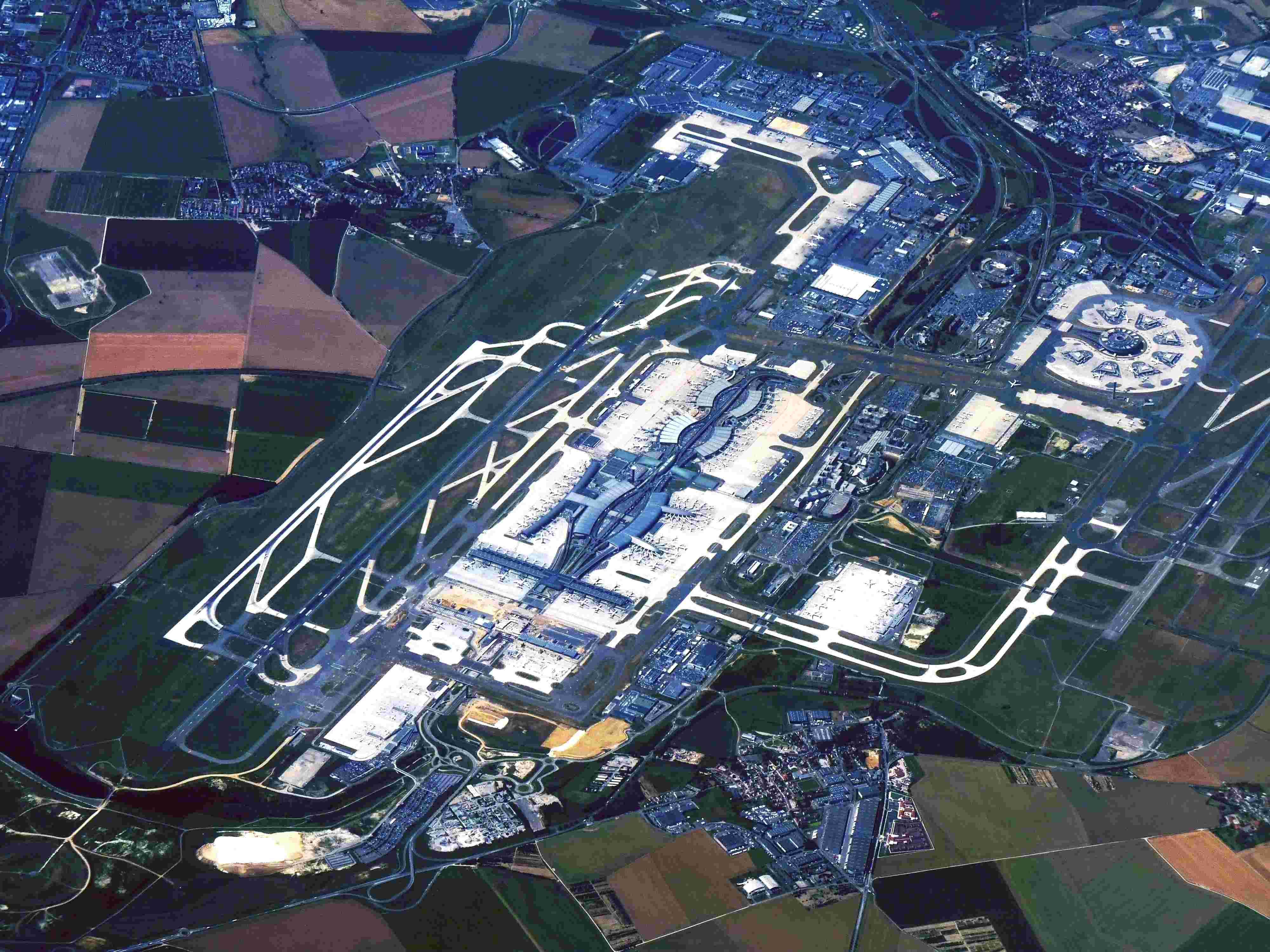 Aéroport de Roissy vue aérienne